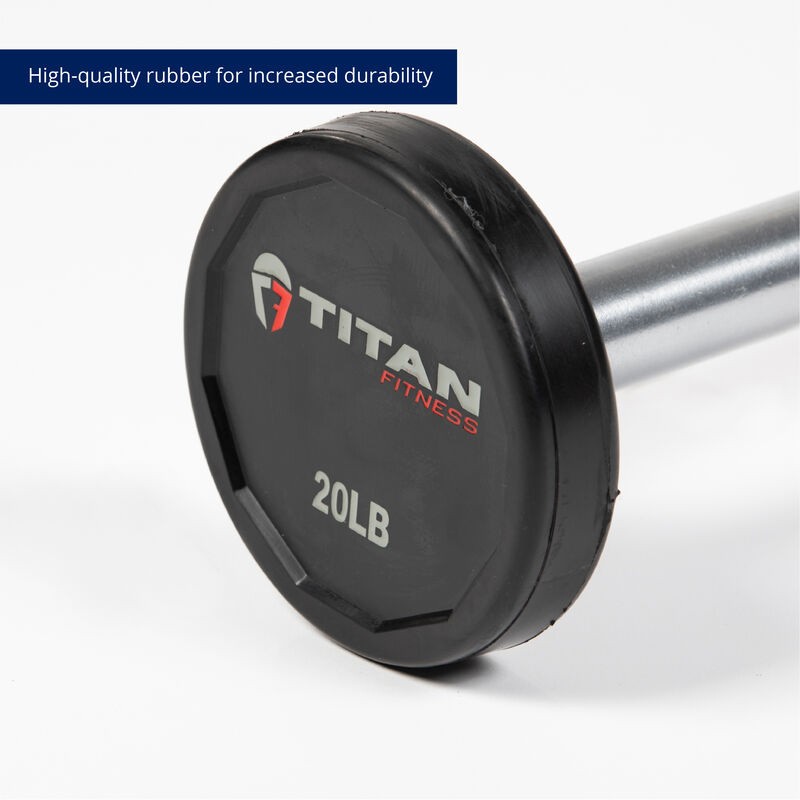 20 LB Straight Rubber Fixed Barbell