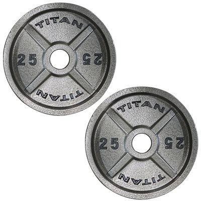 Cast Iron Olympic Weight Plates   25 LB Pair