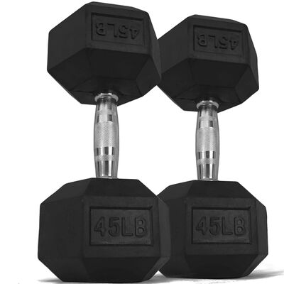 Pair of 45 lb Black Rubber Coated Hex Dumbbells