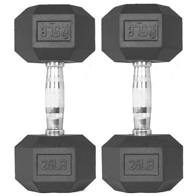 Pair of 25 lb Black Rubber Coated Hex Dumbbells
