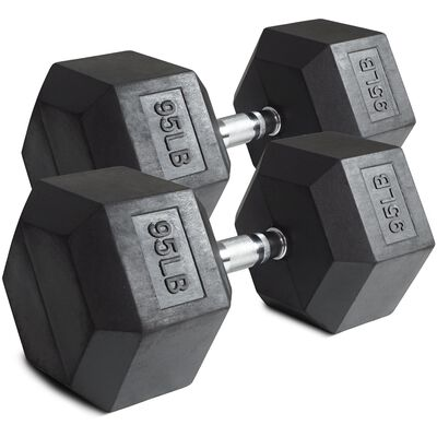 Pair of 95 lb Black Rubber Coated Hex Dumbbells