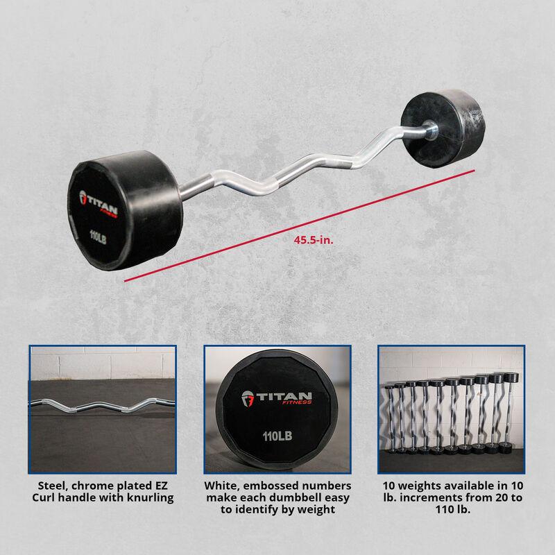 110 LB EZ Curl Rubber Fixed Barbell