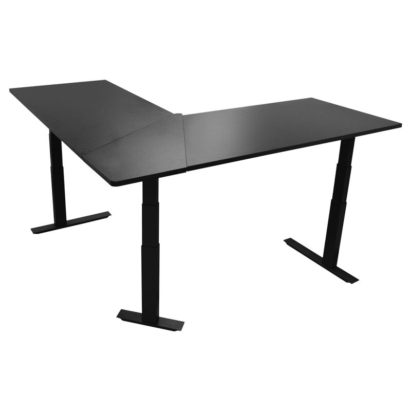 "74"" Electric Adjustable L-Shaped Desk with Black Desktop"