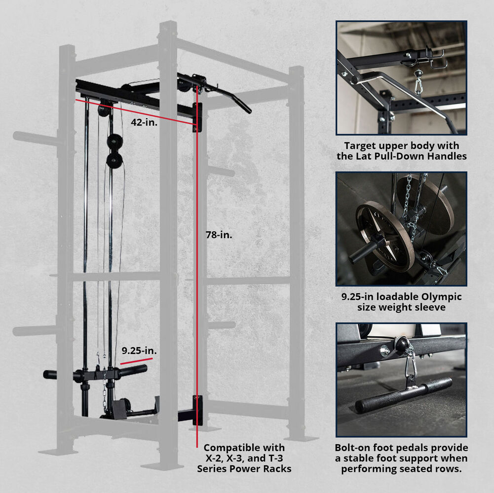 scratch and dent lat tower short height rack attachment x 2 x 3 and t 3 series power rack compatible final sale