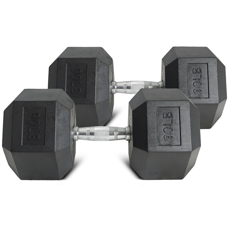 Pair of 90 lb Black Rubber Coated Hex Dumbbells