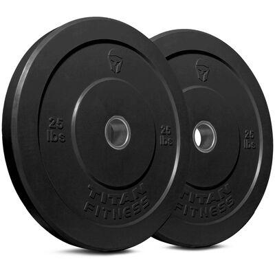 Olympic Rubber Bumper Plates | Black | 25 LB Pair