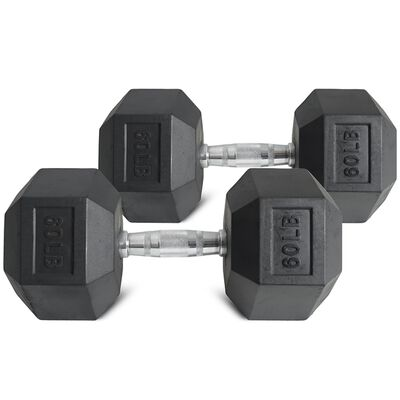 Pair of 60 lb Black Rubber Coated Hex Dumbbells