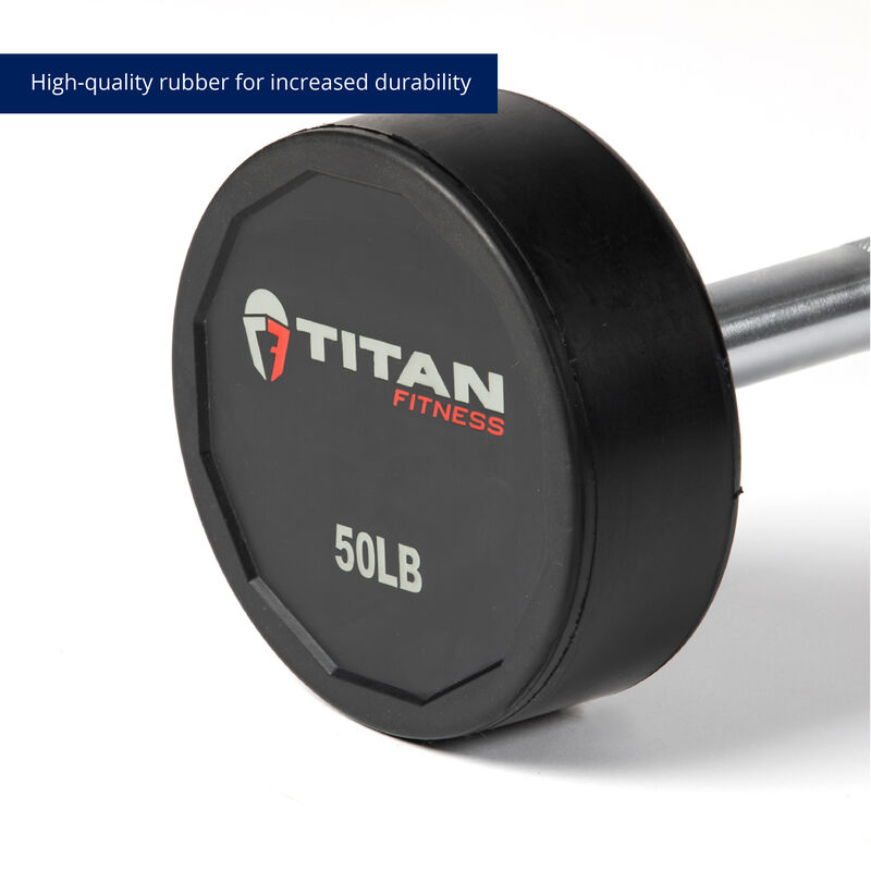 50 LB Straight Rubber Fixed Barbell