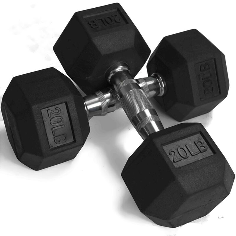 20 LB Rubber Hex Dumbbells