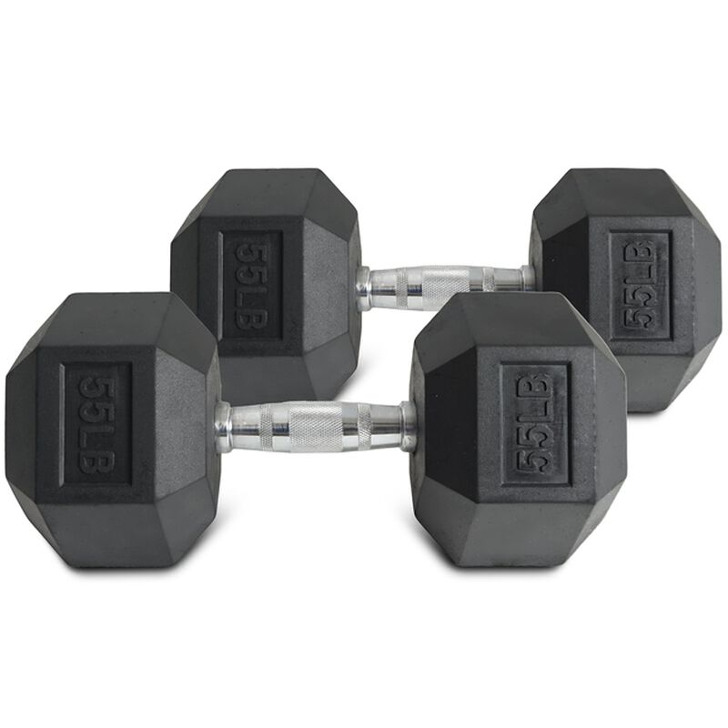 Pair of 55 lb Black Rubber Coated Hex Dumbbells
