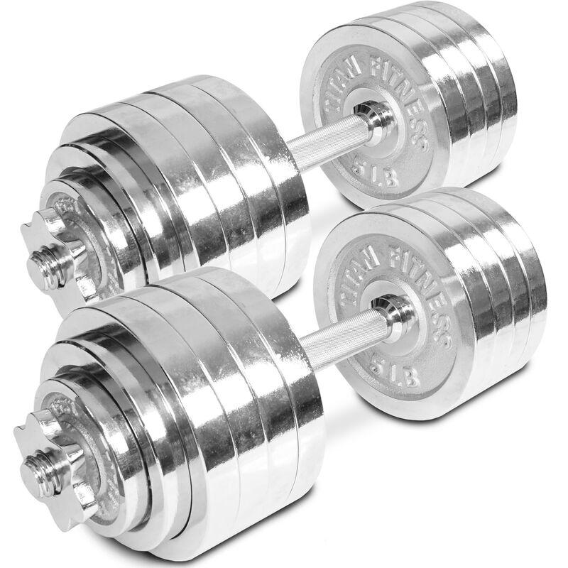 Pair of Adjustable Chrome Dumbbells 5-52.5 lb each