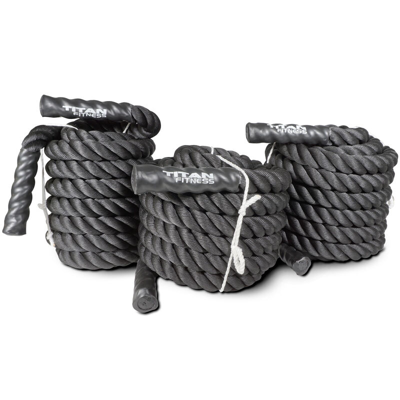 "40' x 2"" Battle Rope Black Poly Dacron"