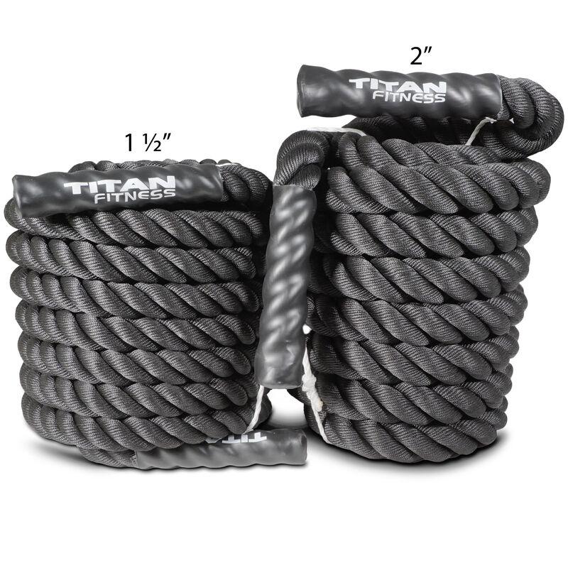 "50' x 1.5"" Battle Rope Black Poly Dacron"