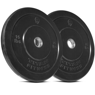 Olympic Rubber Bumper Plates | Black | 15 LB Pair