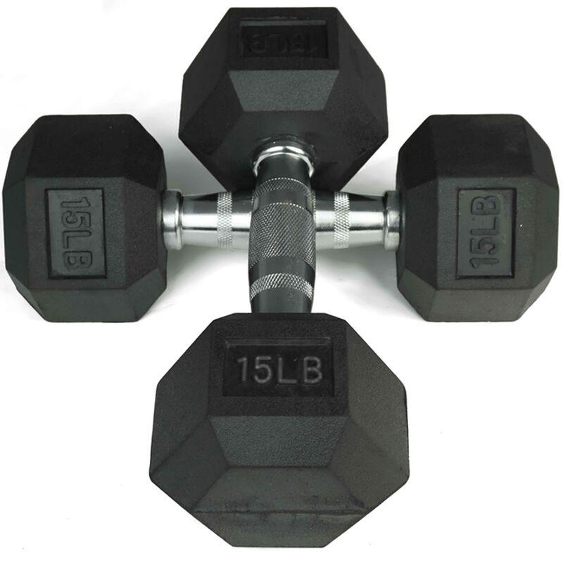 5 - 25 LB Black Rubber Coated Hex Dumbbell Set