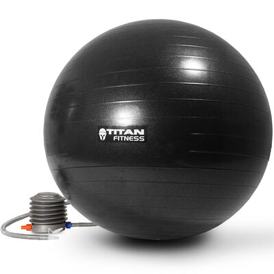 Titan Fitness Exercise Stability Ball Black 55cm Yoga Pilates Anti Burst w/ Pump