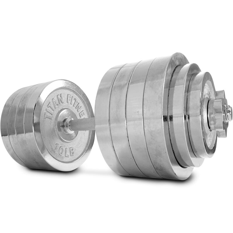 Pair of Adjustable Chrome Dumbbells 5-100 lb each