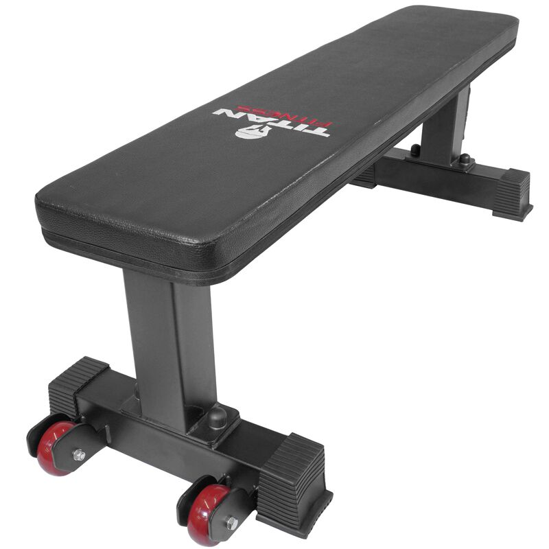 Titan Fitness Flat Weight Bench 1,000 lb Rated Capacity w/ Handle & Wheels