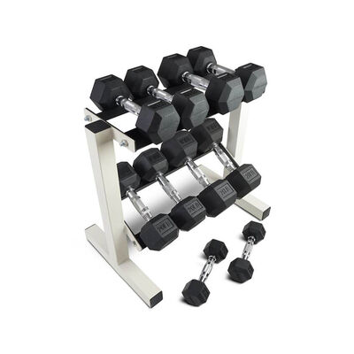5 - 25 LB Set Rubber Hex Dumbbells With Rack