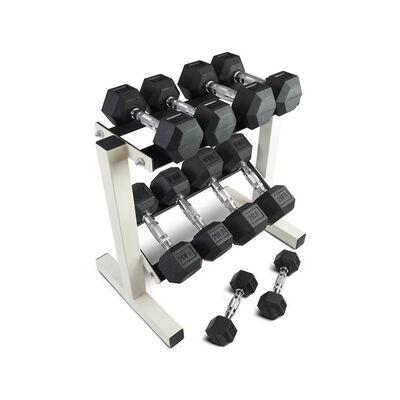 5 - 25 LB Set Rubber Hex Dumbbells With Rack