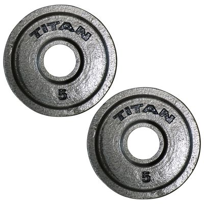 Cast Iron Olympic Weight Plates   5 LB Pair