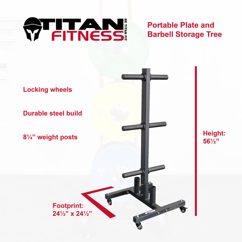 Portable Plate and Barbell Storage Tree