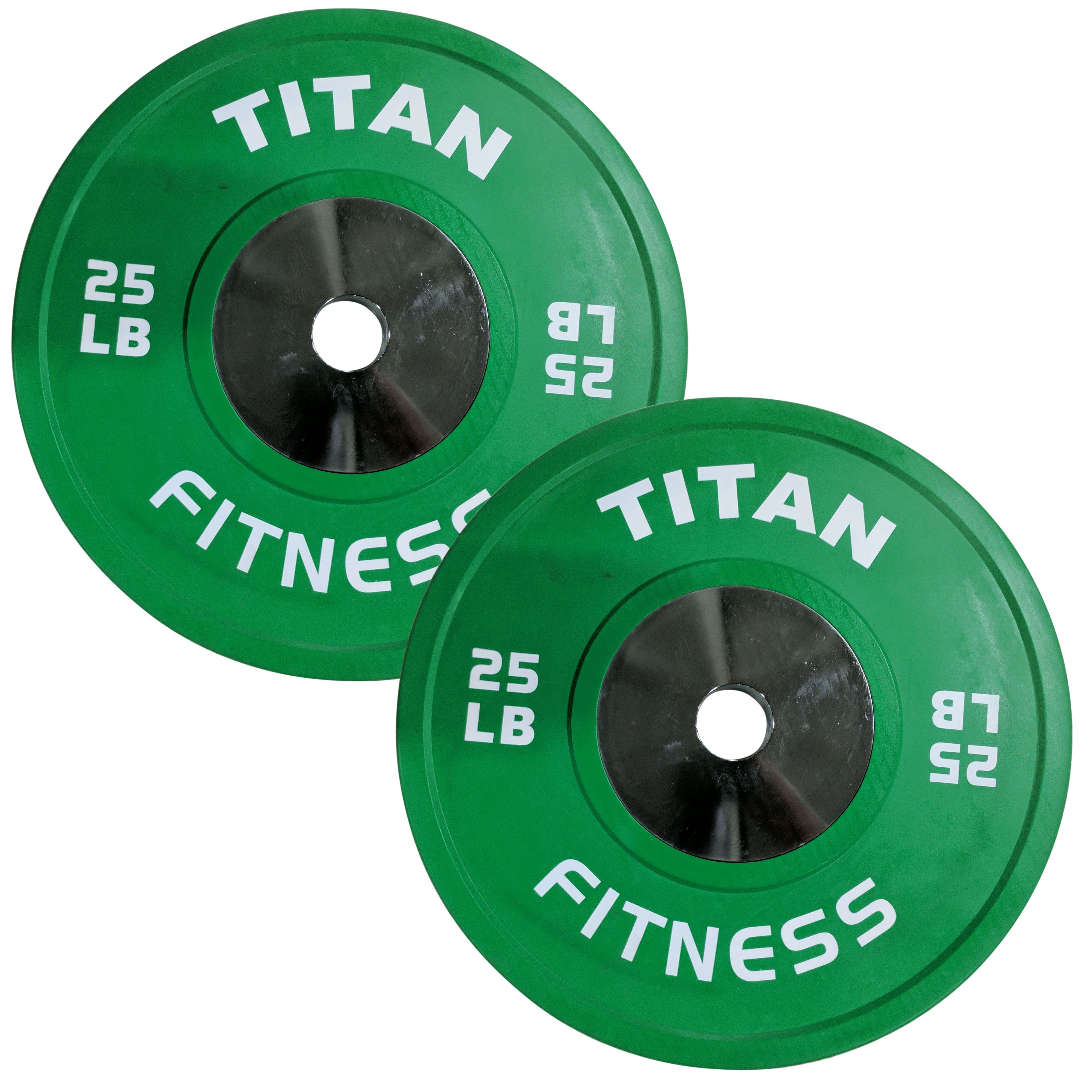 340  LB Set of Titan Color Elite Olympic Bumper Plates