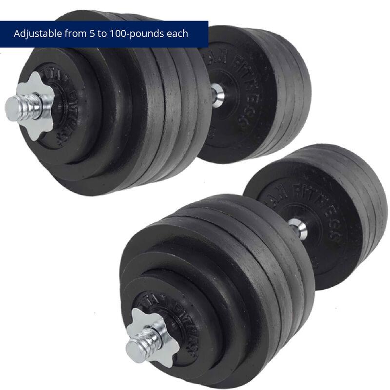 200 LB Set Adjustable Cast-Iron Dumbbells