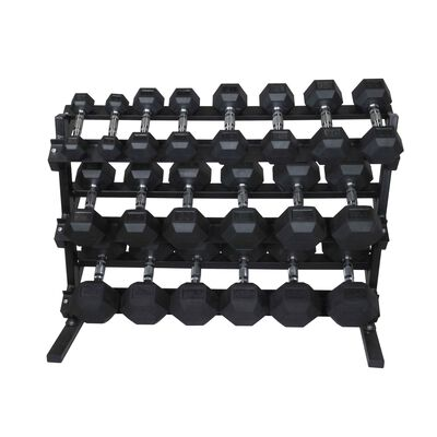 5 - 50 LB Set Rubber Hex Dumbbells With Rack