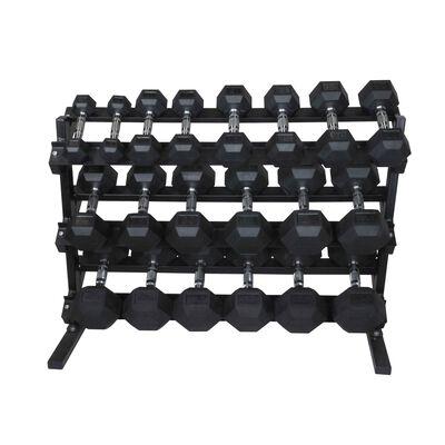 5 - 50 LB Set Rubber Hex Dumbbells With Rack