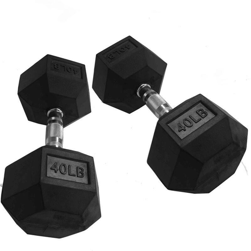 Pair of 40 lb Black Rubber Coated Hex Dumbbells