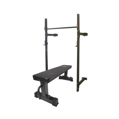 "T-3 Series Tall Folding Rack & Flat Bench Combo | 21.5"" Depth 