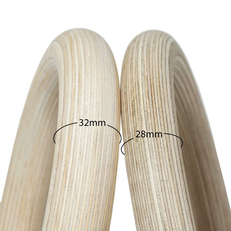 "28mm Wood Olympic Gymnastic Rings - 1.5"" W Heavy Duty Thick Straps & Buckle"