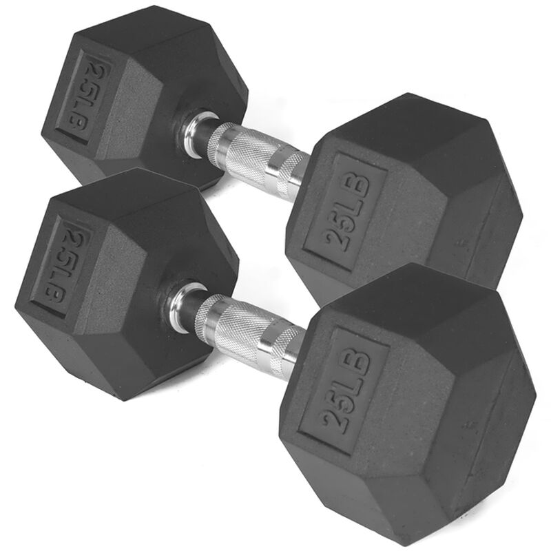 25 LB Rubber Hex Dumbbells