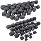 5 - 100 LB Black Rubber Coated Hex Dumbbell Set