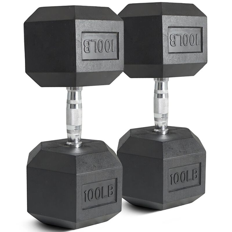 Pair of 100 lb Black Rubber Coated Hex Dumbbells