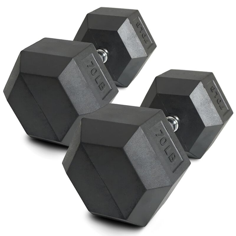 Pair of 70 lb Black Rubber Coated Hex Dumbbells