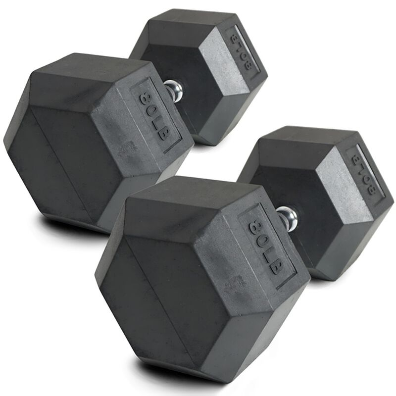 Pair of 80 lb Black Rubber Coated Hex Dumbbells