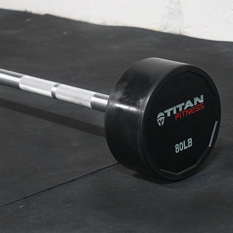 Rubber Fixed Barbell | Straight | 80 LB