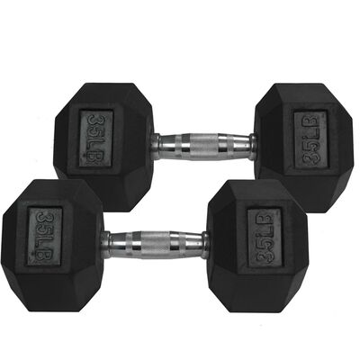 Pair of 35 lb Black Rubber Coated Hex Dumbbells