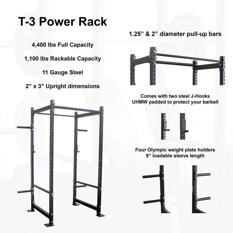 "T-3 Series Tall Power Rack & Incline Bench Combo | 36"" Depth 