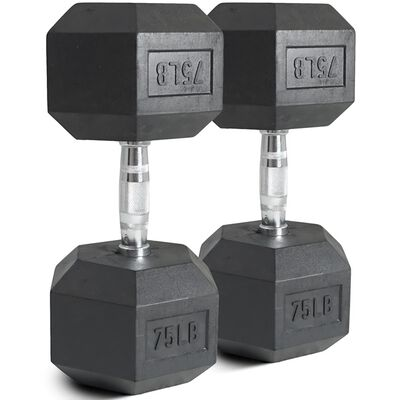 Pair of 75 lb Black Rubber Coated Hex Dumbbells