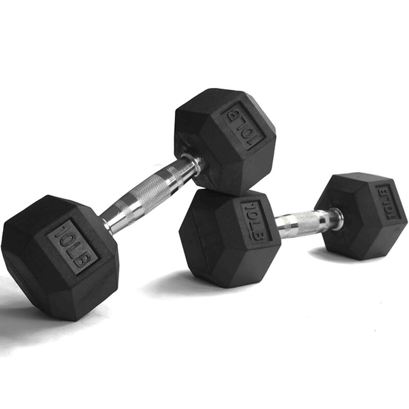 10 LB Rubber Hex Dumbbells