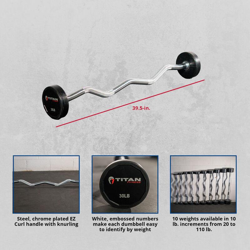Rubber Fixed Barbell – EZ Curl – 30 LB