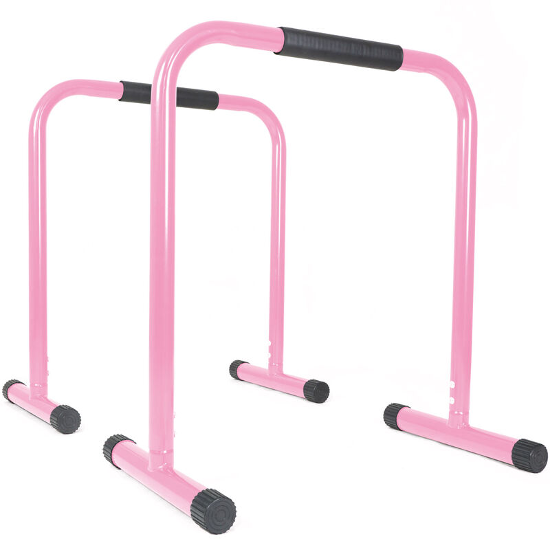 Pink Dip Station Body Weight Equalizer Exercise Bars