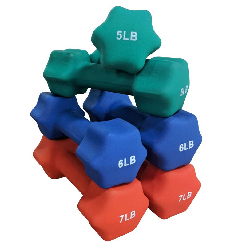 Neoprene Light Weight Dumbbell Set - 5, 6, 7 LB