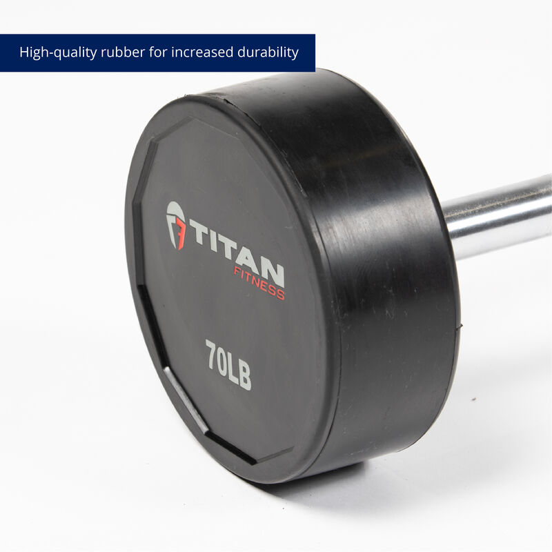 70 LB Straight Rubber Fixed Barbell