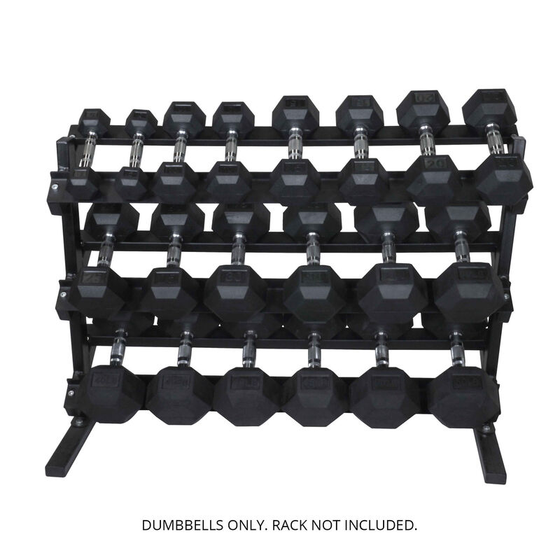5 - 50 LB Set Rubber Hex Dumbbells