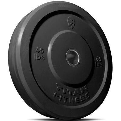 Olympic Rubber Bumper Plates | Black | 45 LB Single