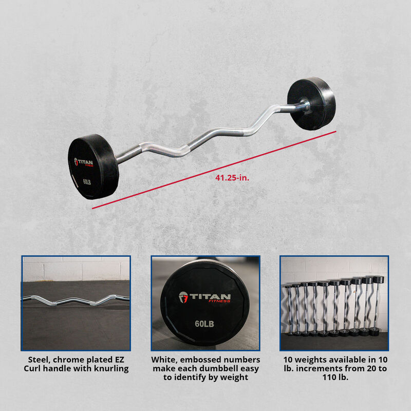60 LB EZ Curl Rubber Fixed Barbell